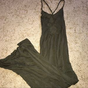 Olive BooHoo Maxi Open-Back Dress